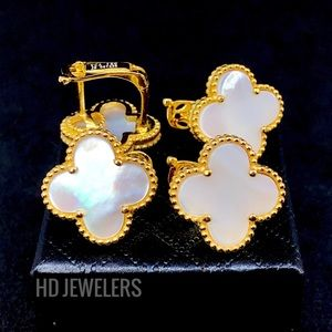 Jewelry - Mother Of Pearl 18K Gold Leaf Clover Stud Earrings